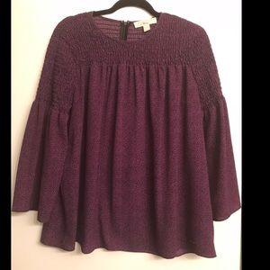 Michael Kors Purple Peasant Blouse size Large